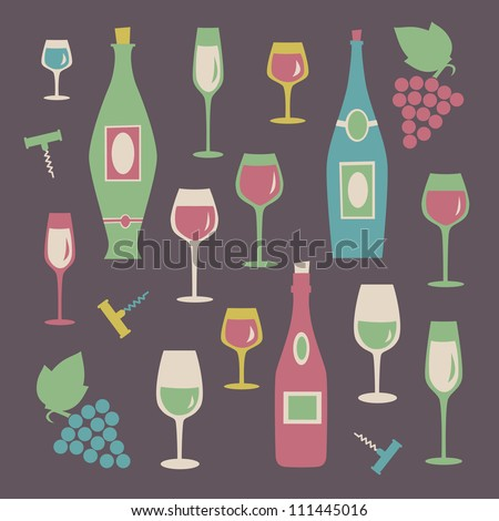 Set of colorful wine glasses and bottles.  Vector illustration. - stock vector