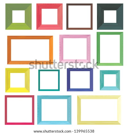 Set Colorful Wooden Frames Stock Vector HD (Royalty Free) 139965538 ...