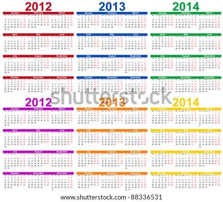 Set of colour 2012, 2013 and 2014 Calendar - stock vector