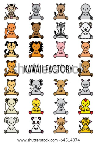 Set of coloured kawaii wild animals and pets. Vector illustration. - stock vector