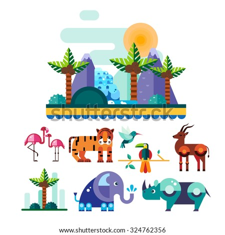 Set of colourful birds, animals and nature elements in flat style, vector illustration set - stock vector