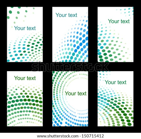 Set of colourful business cards on black background. Bitmap (jpeg) version also available in gallery - stock vector