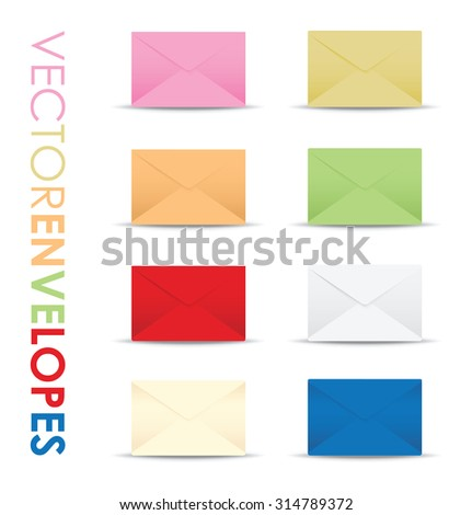 set of colourful envelopes - stock vector
