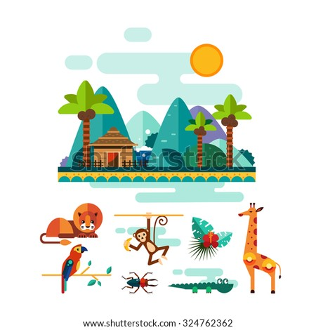 Set of colourful jungle and tropic animals and nature elements in flat style, vector illustration set - stock vector