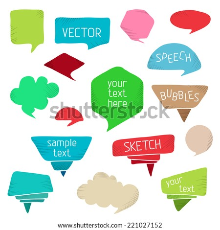 Set of colourful speech bubbles. Vector design elements isolated on white background. There is place for your text. - stock vector