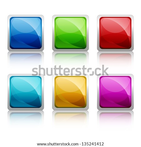Set of colourful square glass botton, vector illustration - stock vector