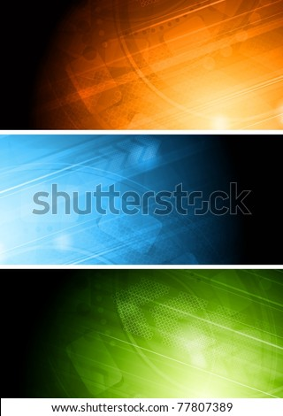 Set of colourful technical banners. Eps 10 - stock vector