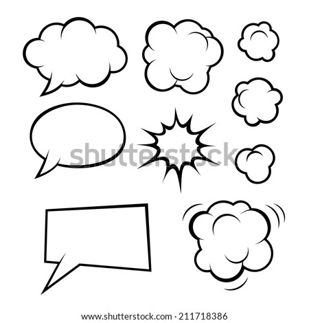 Set of Comic Bubbles and Elements. Vector illustration - stock vector