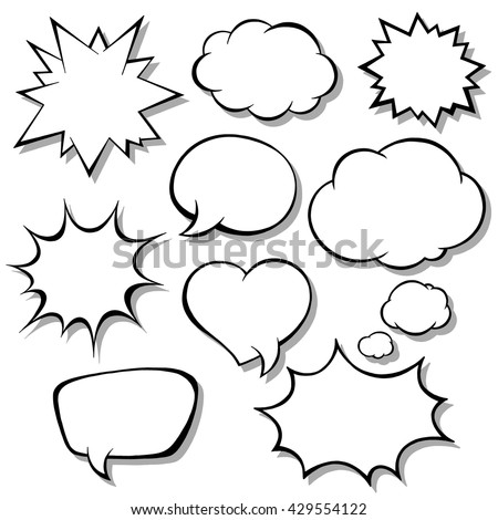 Set of comic bubbles. Blank empty speech bubbles for infographics vector illustration - stock vector