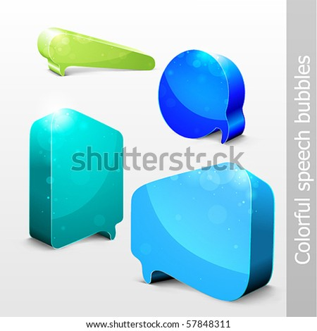 Set of Comic Chat Bubbles With Space For Text - stock vector