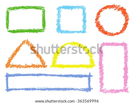 Set of comic colorful design elements. Crayon chalk hand drawn frames. Group of funny red, blue, yellow, pink vector copy space. Round, square, triangular kids drawing frames. - stock vector