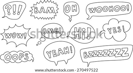 Set of comic speech bubble with the text. Vector image.