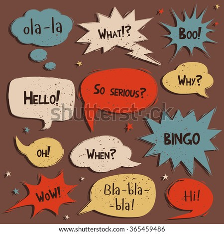 Set of comic speech bubbles with remowable texture. Vector - stock vector