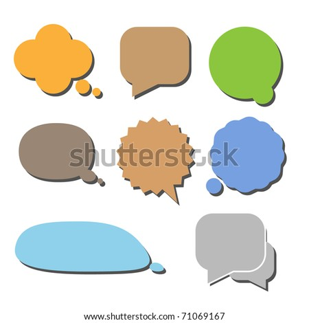 Set of comic style colorful clouds with shaddow - stock vector