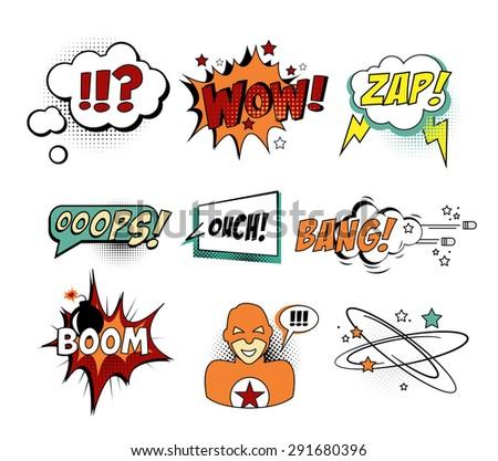 Set of Comic Text, Pop Art style vector - stock vector