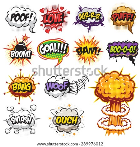 Set of comics speech and explosion bubbles. Colored with text - stock vector
