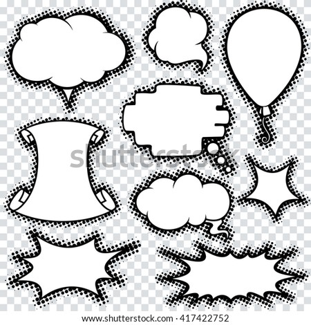 Set of Comics Speech Bubbles and Design Elements with Halftone Shadows. Vector Ready for Your Text. - stock vector