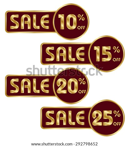 Set of commercial badges on white background. Economical buy. 10, 15, 20, 25 percent discount. Suitable for advertisements, price tags, stickers etc. Color - gold and burgundy. Vector illustration - stock vector