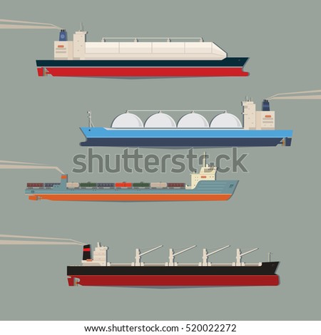 Set of commercial cargo vessels and tankers. LNG ship, bulk carrier, train ferry. Freight industrial cargo ships side view isolated. Vector illustration
