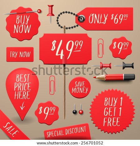 Set of commercial sale and discount stickers, elements and badges, vector illustration.  - stock vector