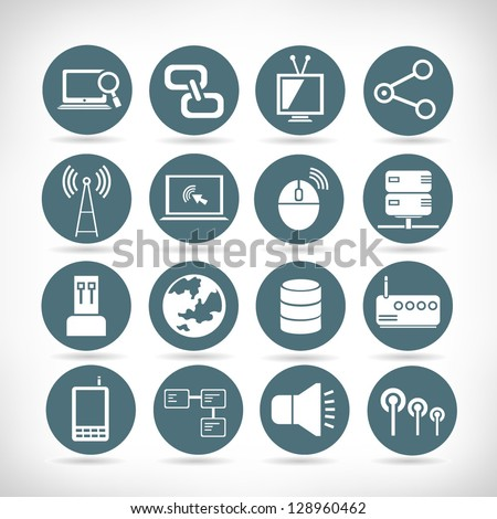 set of communication and network buttons, web application icon set - stock vector