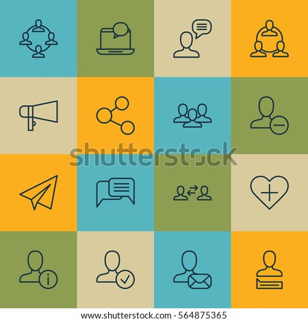 Set 16 Communication Icons Includes Business Stock Vector Royalty