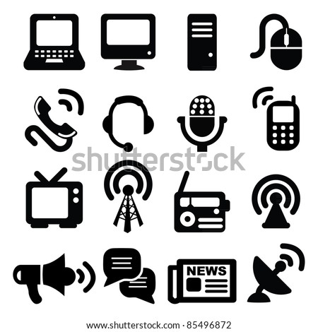 Set of communication icons-Silhouettes