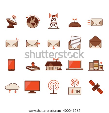 Set of Communication technology. icon vector. - stock vector