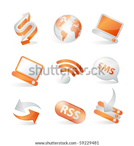 Set of communication web icons - stock vector