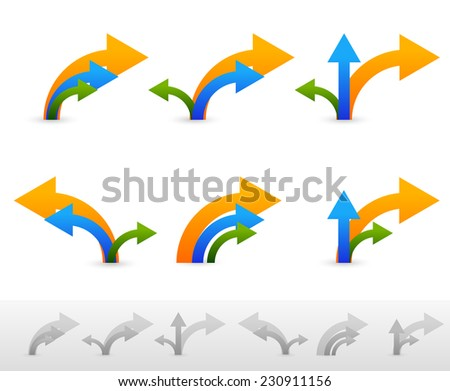 Set of 6 compositions of arrows. Grey versions included - stock vector
