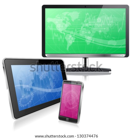 Set of Computer Devices - Monitor, Tablet PC, Smartphone with Business Wallpaper on Screen, vector isolated on white - stock vector