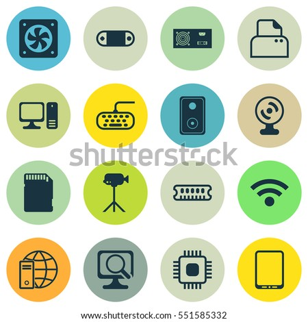 Set Of 16 Computer Hardware Icons. Includes Cellphone, Computer Ventilation, Dynamic Memory And Other Symbols. Beautiful Design Elements.