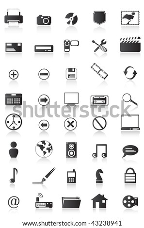 Set of computer icons,easy to edit or to re size. Elements are set on a different layer. The earth is hand made. - stock vector