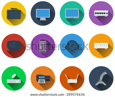 Set of computer icons in flat design. EPS 10 vector illustration with transparency. - stock vector