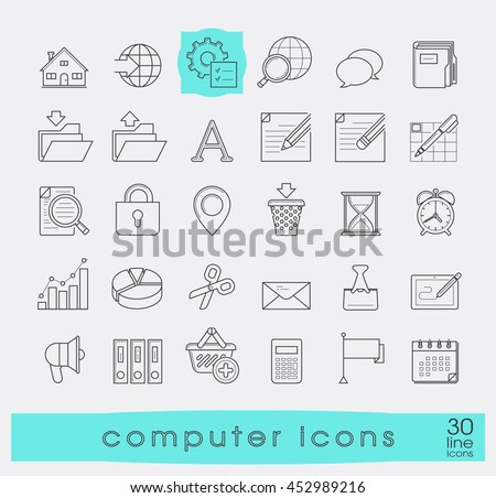 Set of computer icons. Line icons for web and communication technology. Collection of premium quality linear icons.