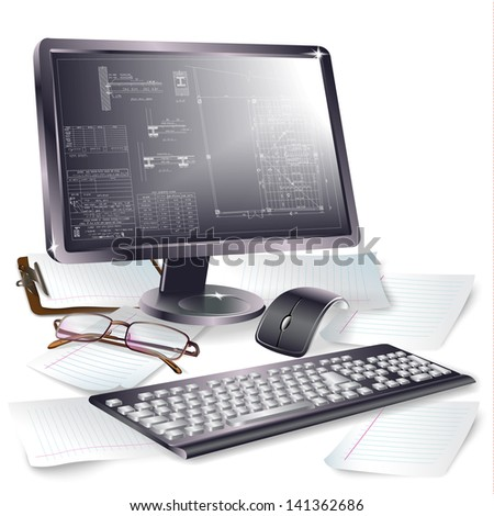 Set of computer monitor, mouse and keyboard for your business purposes. Vector background - stock vector