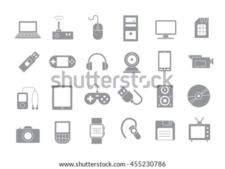 Set of 24 Computer technologies gray vector icons