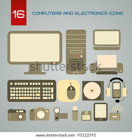 Set of computers and electronics icons - stock vector