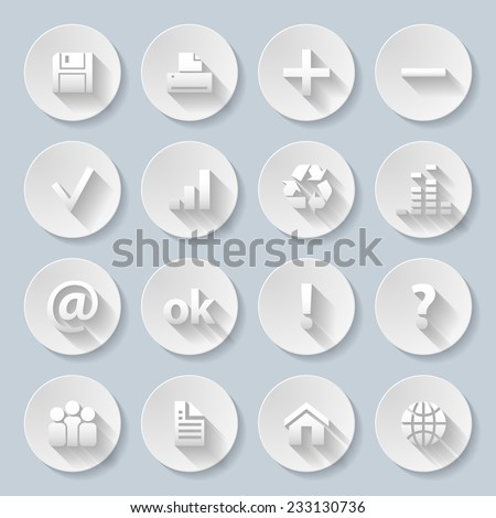 Set of computor, Web site and Internet icons in paper style - stock vector