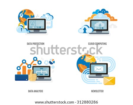 Set of concept for data protection, cloud computing, data analysis and newsletter. Flat design. Vector Illustration. - stock vector