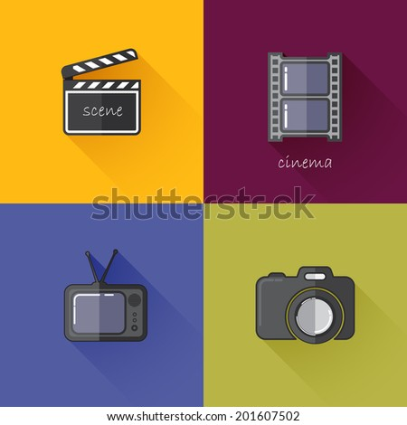 Set of concept icons for media industry (camera, TV, clapboard, filmstrip). Flat design with long shadows  - stock vector
