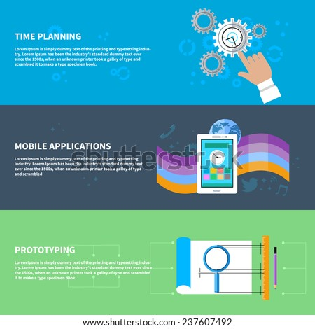 Set of concept in flat design for time planning with hand touching clock in gear frame, for mobile application with smartphone social media icons and for prototyping with process of creating prototype - stock vector