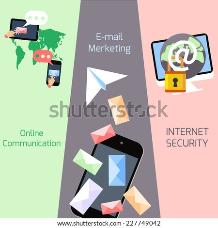 Set of concepts for email marketing and advertising, social network, global communication, internet security in flat design - stock vector