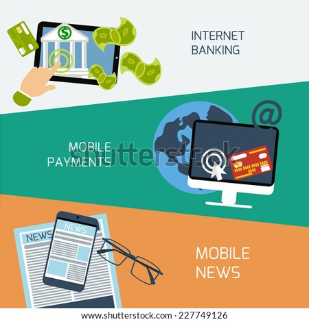 Set of concepts for mobile news, mobile payments and internet banking in flat design - stock vector