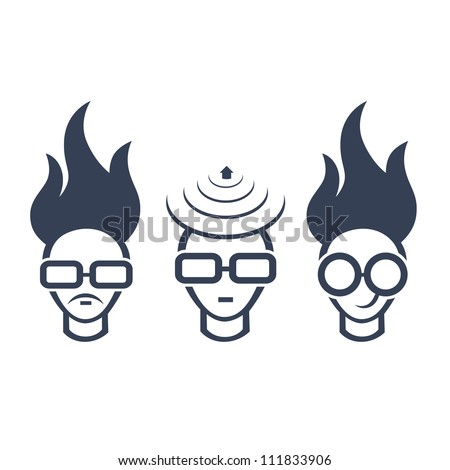 Set of conceptual icons of human head, concept of a bright idea, invention, inspiration. Easy to edit. - stock vector