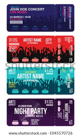Set Of Concert Ticket Templates. Concert, Party Or Festival Ticket Design  Template With People  Concert Ticket Templates