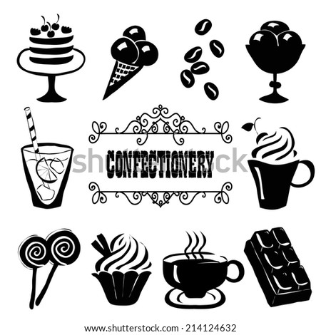 Set of confectionery food icons. Hand drawn vector illustration. - stock vector