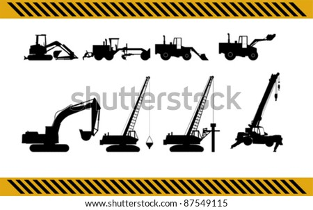 set of construction machinery equipment isolated - stock vector