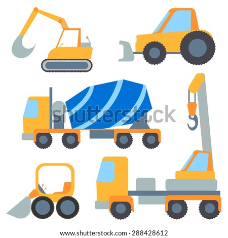 Set of construction machinery for repairs and loading, painted in the style of flat color. Vector Illustration