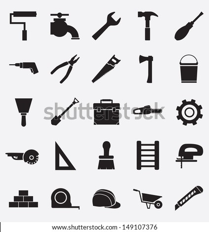 Set of construction tools icons - vector icons - stock vector